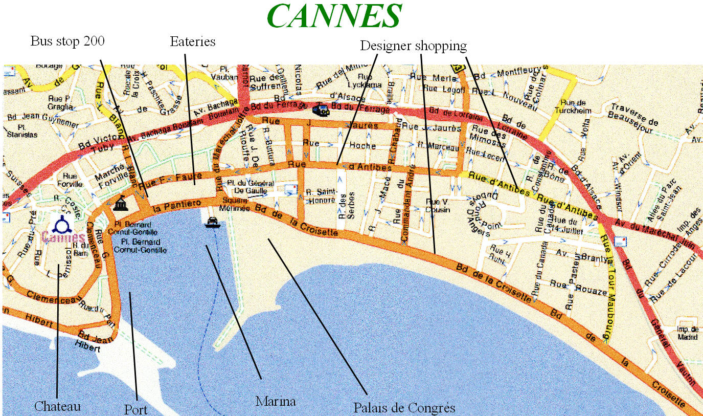 Cannes map on